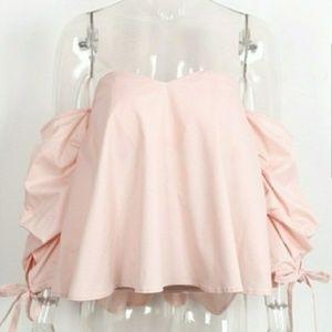 Tops - The NATASHA Pink Cold Shoulder Top